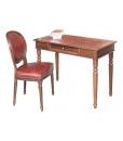 Lederstuhl mit Schreibtisch, Lederstuhl, Schreibtisch, Büro-Set