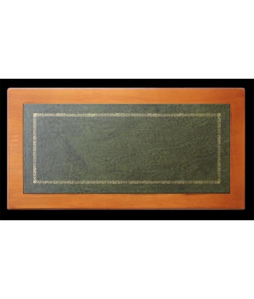 Platte des Schreibtisch mit Leder