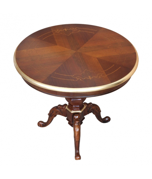Runder Tisch mit Platte aus Holz