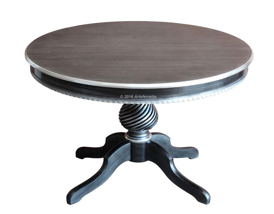 tisch schwarz und silber rund 120 160 cm frank m bel. Black Bedroom Furniture Sets. Home Design Ideas