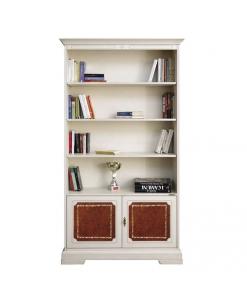 Bücherschrank mit Leder, Eleganter Bücherschrank