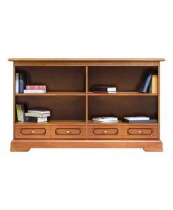 Bücherregal niedrig, Bücherschrank mit Schübkästen