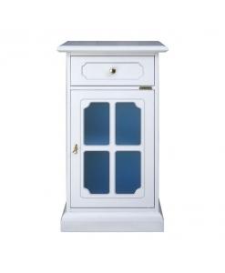 klassischer Telefontisch aus Holz mit Glastür