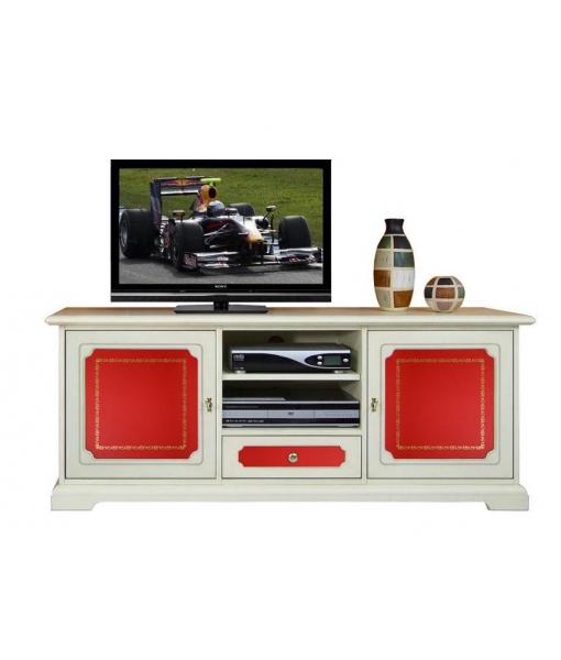 tv lowboard mit t ren und leder frank m bel. Black Bedroom Furniture Sets. Home Design Ideas
