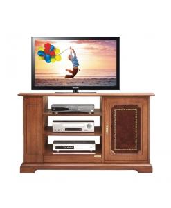 TV-Rack mit Ledertür, TV-Rack