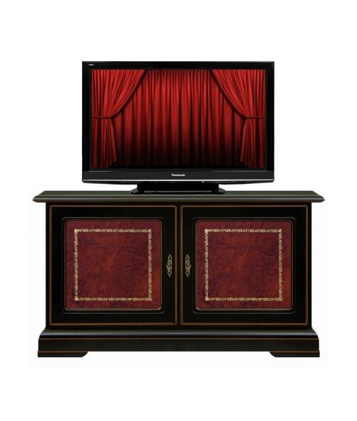 tv rack 2 t ren schwarz mit rotleder frank m bel. Black Bedroom Furniture Sets. Home Design Ideas