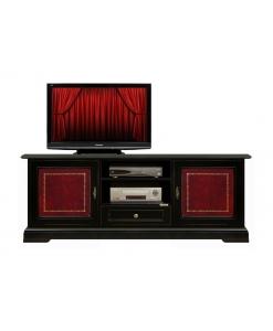Fernsehmöbel Schwarz mit Leder, Fernsehmöbel Schwarz
