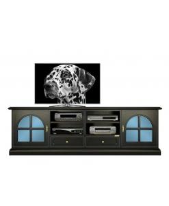 TV-Lowboard Schwarz und Blau, TV-Lowboard zweifarbig