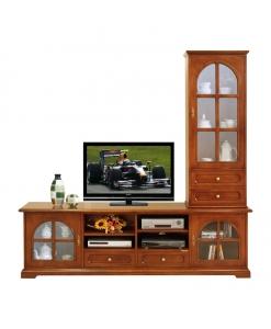 Wohwand 2 m Massivholz, TV-Möbel mit Vitrine