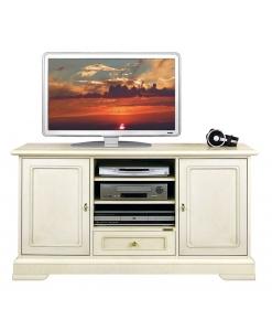 TV-Schrank mit beweglichen Einlegeböden, TV-Schrank Elfenbein