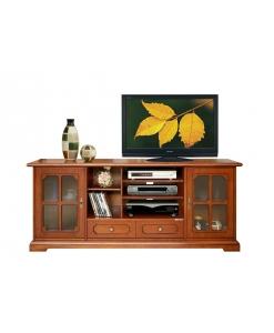 TV-Lowboard 160 cm 2 Glastüren, TV-Lowboard Kirschholz
