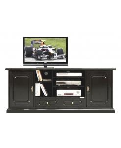 TV-Lowboard Schwarz 2 Türen, TV-Lowboard Hi-Fi