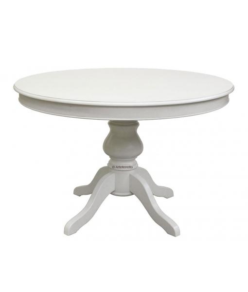 Weißer Tisch  Säulentisch Louis Philippe, Esstisch weiß, Art.-Nr. 446-BI-120