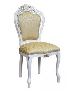 Stuhl mit Schnitzarbeit weiß, Stuhl mit Blattgold