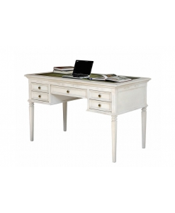 Schreibtisch mit Ledereinlage