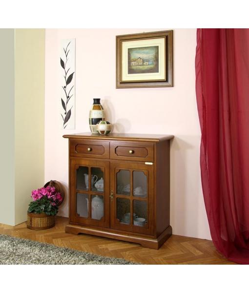 kleiner glasschrank 2 t ren mit gitter und schublade frank m bel. Black Bedroom Furniture Sets. Home Design Ideas