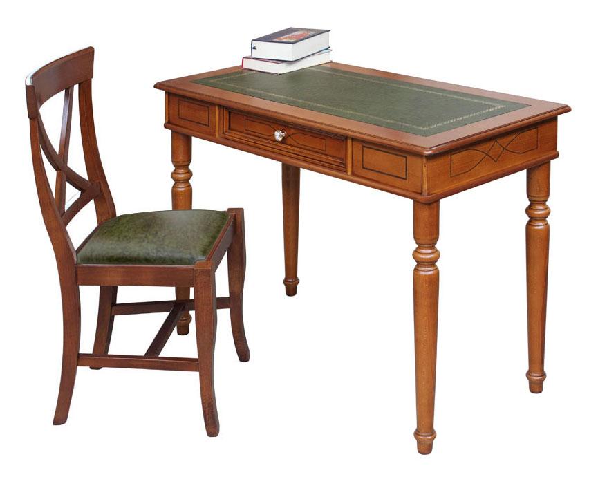Schreibtisch mit Lederplatte 1 Schublade - Frank Möbel
