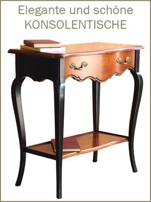 Kategorie Konsolentische, klassischer Konsolentisch,  Konsolentische aus Holz, Konsolentische mit Intarsie, Konsolentische Schnitzarbeit
