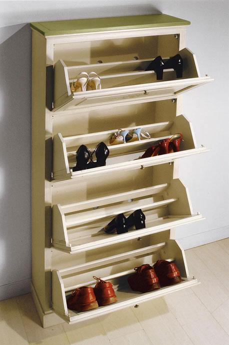 Schuhschrank 4 klappen mit dekor frank m bel for Barhocker zum klappen