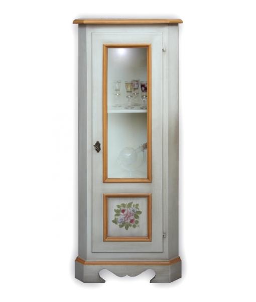Eckschrank mit Glastür und dekorierter Tür - Frank Möbel