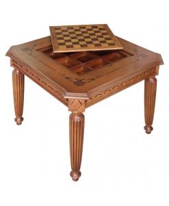 Schachbretttisch, Schachbretttisch aus Holz