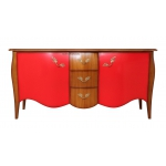 Sideboard Kirschholz und Rot, Design Sideboard
