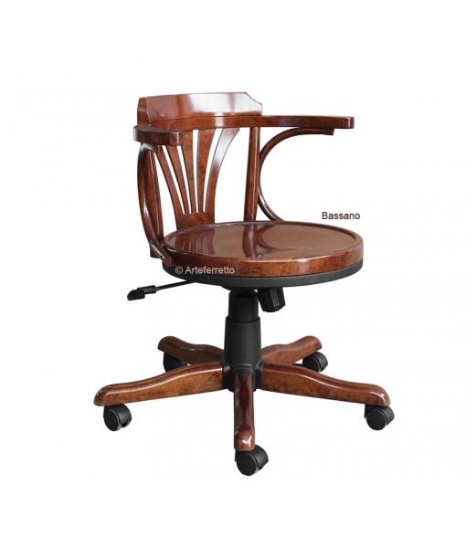 Drehstuhl Holzsitz mit Rollen, Drehstuhl für Büro