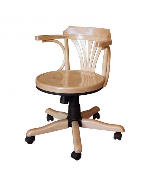 Drehstuhl Holzsitz mit Rollen, Drehstuhl für Büro, Art.-Nr. FR-161