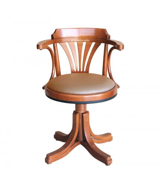 Drehstuhl mit Sitz aus Bordeaux-Leder art. 839
