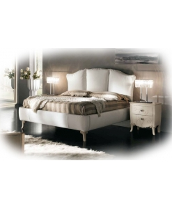Doppelbett mit Polsterung, Bett weiß