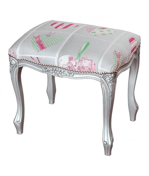 hocker silber mit polsterung frank m bel. Black Bedroom Furniture Sets. Home Design Ideas
