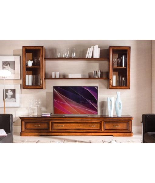 Wohnwand tv mit vitrinen und brettern frank m bel for Wohnwand 150 cm