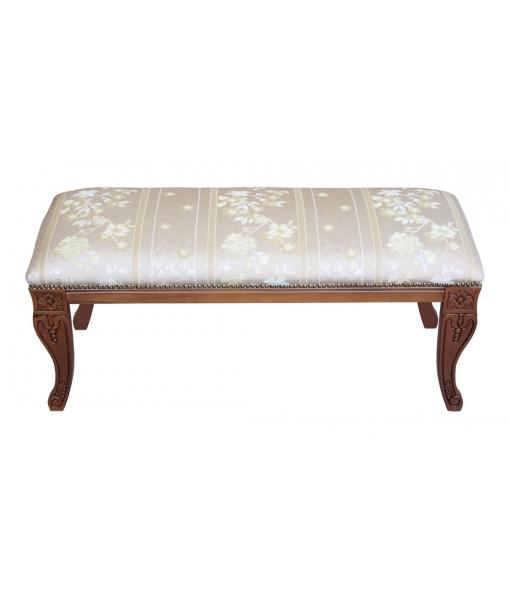 Sitzbank aus Holz mit Bezug