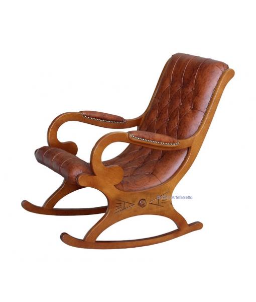 Leder Schaukelstuhl, Klassischer Schaukelstuhl aus Leder