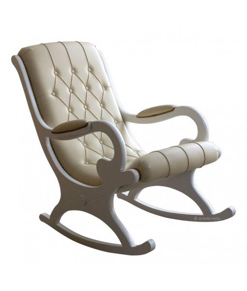 schaukelstuhl wei mit kunstleder frank m bel. Black Bedroom Furniture Sets. Home Design Ideas