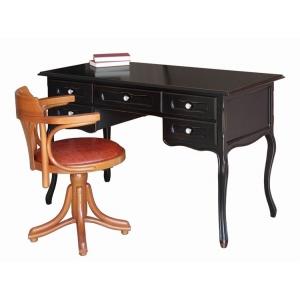 Schreibtisch Art. 642-N Farbe Schwarz antik über Kirschholz