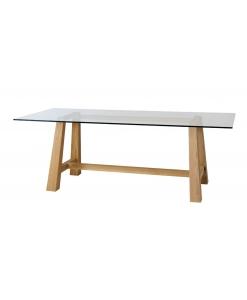 Esstisch mit Glasplatte, Esstisch Eichenholz