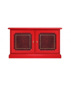 Rote Anrichte mit 2 Ledertüren