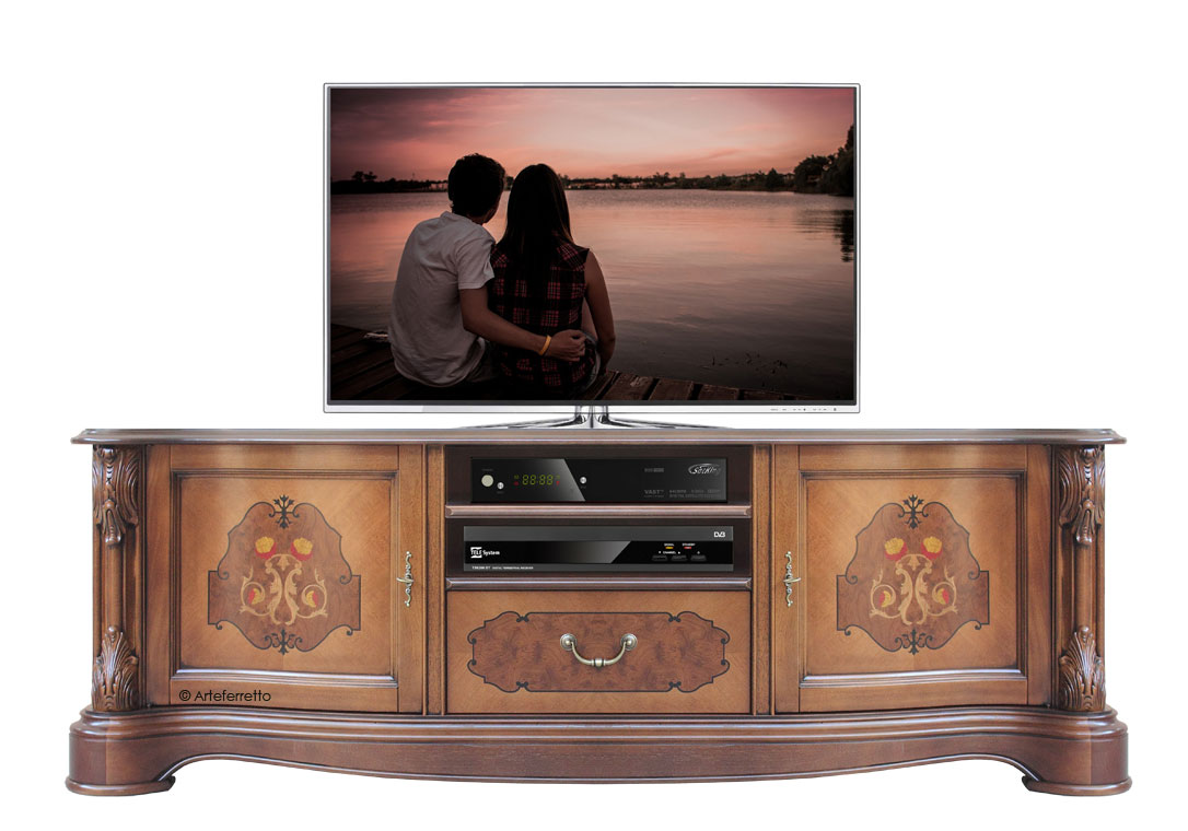 klassisches tv m bel mit intarsie frank m bel. Black Bedroom Furniture Sets. Home Design Ideas