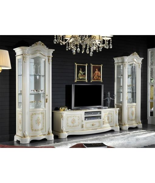 romantische vitrine mit dekor frank m bel. Black Bedroom Furniture Sets. Home Design Ideas