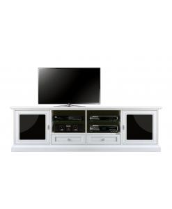 TV-Möbel Weiß und Schwarze Gläser