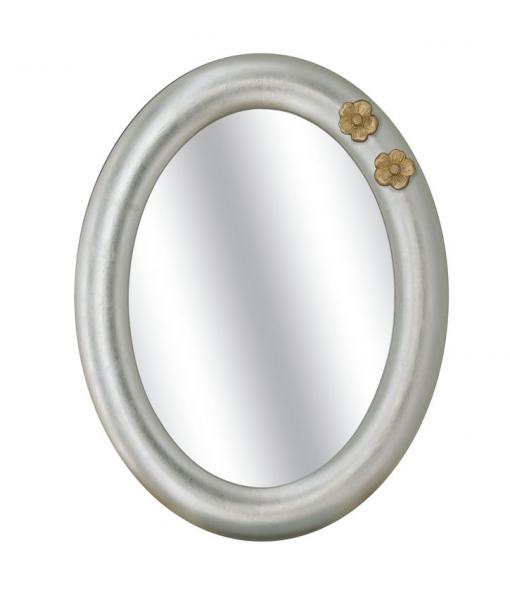 Weißer ovaler Spiegel mit golden Blumen, Art.-Nr. DB-916