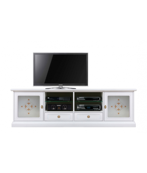 TV-Möbel mit geschmückteren Gläsern