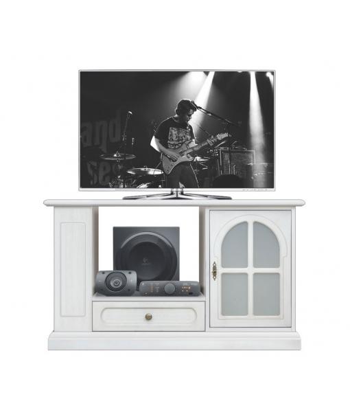 Tv Rack Weiß Mit Glastür Mainmax Ice Frank Möbel