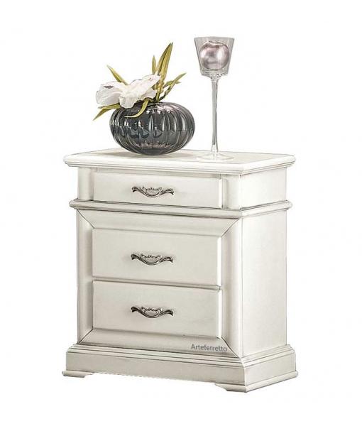Weißer Nachttisch 3 Schubladen, Art.-Nr. E-1003