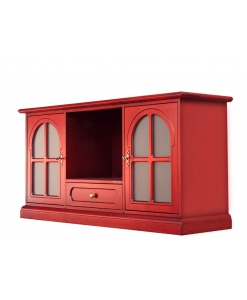 Rotes TV-Möbel aus Holz