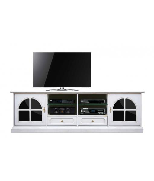 TV-Lowboard Weiß und Schwarz, Art.-Nr. 4010-TG-Plex