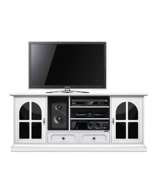 TV-Möbel in Weiß und Schwarz, Art.-Nr. 4070-TG-plex