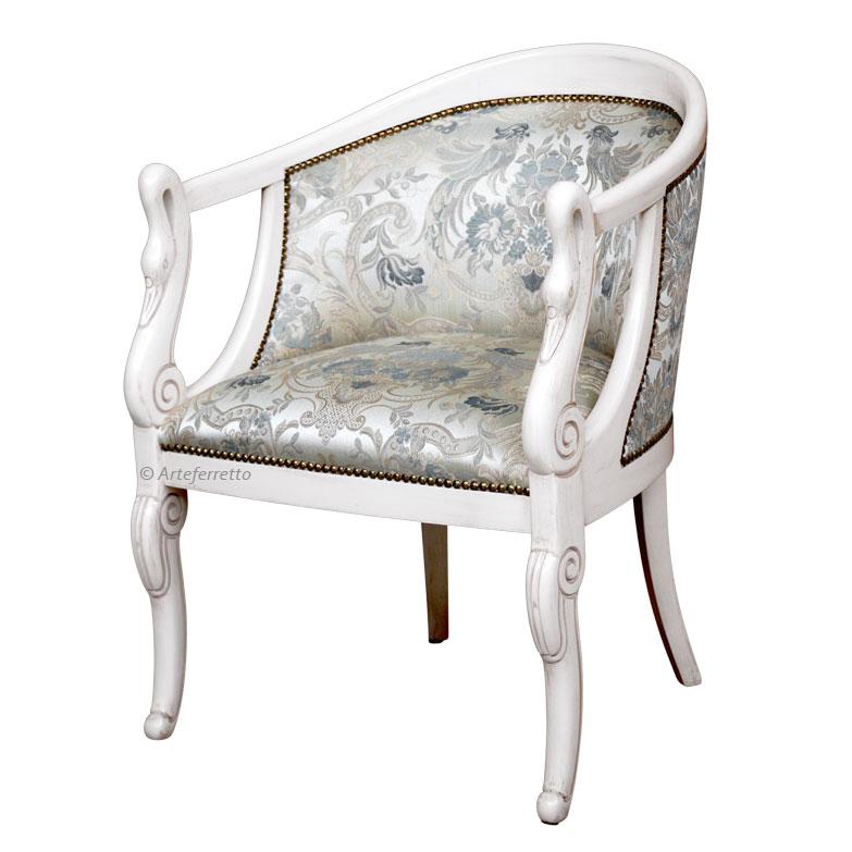 Kleiner Sessel Weiß Patiniert Schwan Frank Möbel