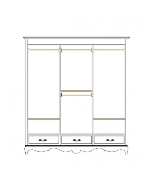 schrank 3 schiebet ren in wei mit f e frank m bel. Black Bedroom Furniture Sets. Home Design Ideas
